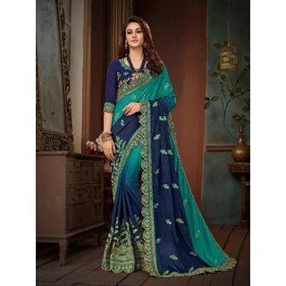 Manohari Blue Chiffon Embroidery Saree with Blouse