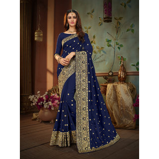 Manohari Blue Silk Blends Embroidery Saree with Blouse