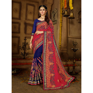 Manohari Red Silk Blends Embroidery Saree with Blouse