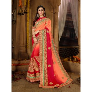 71d0cedc01 Buy Manohari Pink Silk Chiffon Embroidery Saree with Blouse Online ...