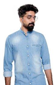 FASHION MOUNT Men's Denim - Light Blue Chinese Collar Casual Shirts-L