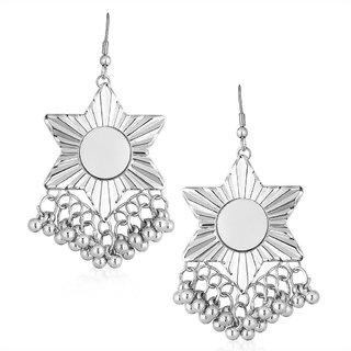 Shostopper Afghani Star Oxidised Mirror Earrings SJ6125EN