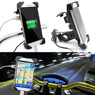 separation shoes 96a30 661a6 KunjZone Waterproof Universal Motorcycle Car 360 Degree Rotating Bike  Mobile Holder with USB Charger for All Android Devices Upto 7 Inches (Black)