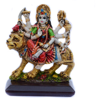 Spidy Moto God Idol Decorative Goddess Maa Sherawali with Crystals For Car Dashboard
