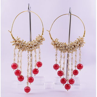 RPS TRADITIONAL EARINGS FOR WOMEN (WHITE-RED)