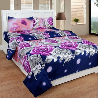 xy Decor Polycotton 3D Double bedsheet with 2 Pillow Covers Multicolor