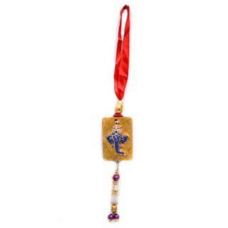 Spidy Moto Gold Idol Ganesh Ji Hanging Accessories for Car Rear Inner View Mirror