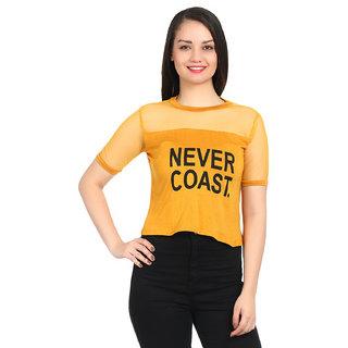 Raabta Mustard NEVER COAST top with Black Font