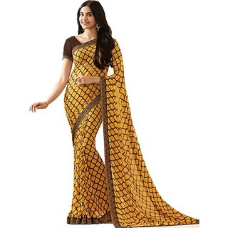19dae342d7 Buy V-Karan Women's Yellow Georgette Printed Party Wear Saree With  Unstitched Blouse Online - Get 81% Off