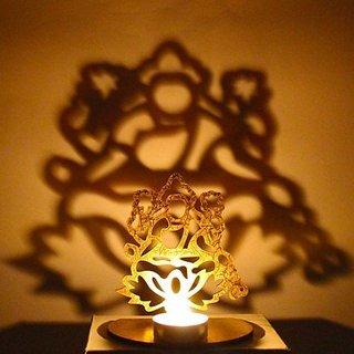 Kartik Laxmi Shadow Tealight Holder, with Tealight Candle,Unique Shadow Laxmi Maa Display on Wall
