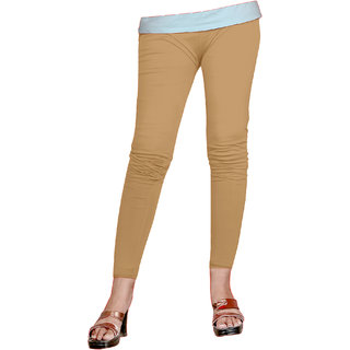 Naisargee Women's and Girl's chikoo Silk Ankle Length Leggings -(XXL Size)