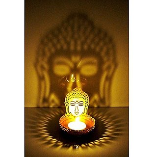 Kartik Shadow Buddha Tea Light Candle Holder (8 cm x 8 cm x 11 cm,)