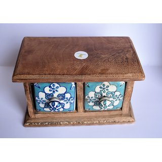 Yourcull Wooden Ceramic Drawer Decorative Showpiece