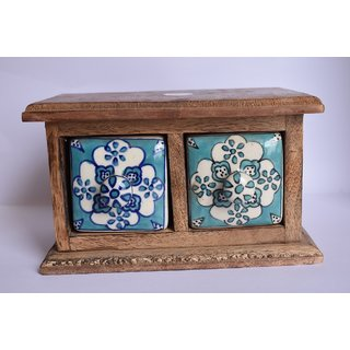 Yourcull Ceramic Double Drawer Set Decorative Showpiece