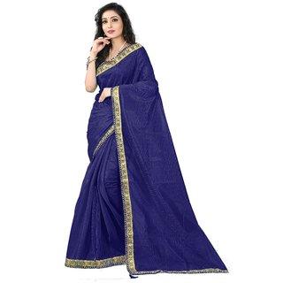 V-KARAN Women's Dark Blue Art Silk  Printed Party Wear Saree With Blouse