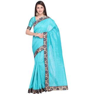 V-KARAN Women's Turquoise Bhagalpuri Silk  Printed Party Wear Saree With Blouse