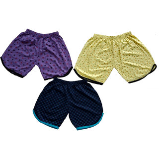 CH Fashion Girl Woman's Cotton multi colors Night Wear Boxer Shorts(Pack Of 3)