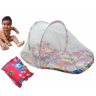 Suraj Red Small Size Bedding Set (Gadi Set) With Pillow And Mosquito Net
