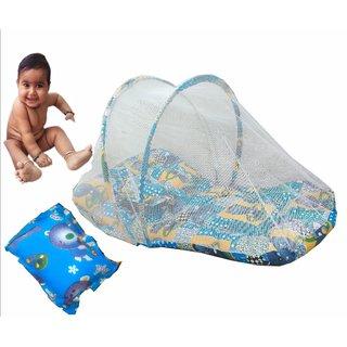 Suraj Navy Blue Bedding Set (Gadi Set) With Pillow And Mosquito Net