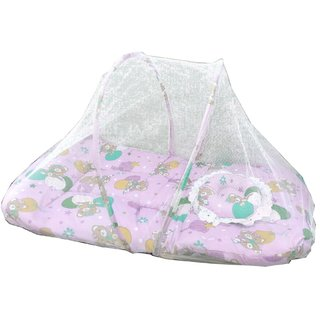 Suraj Pink Bedding Set (Gadi Set) With Pillow And Mosquito Net for your baby