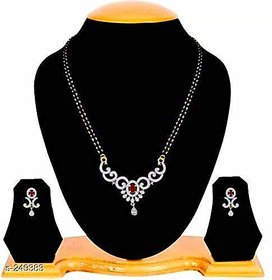 Navya Collection Ruby Studded American Diamond Gold Plated Latest Design Mangalsutra With Earrings For Woman