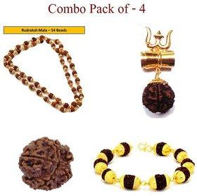 Only 4 You 100 Orginal Rudraksha Mala, Bracelet, Shiv Shakti Kavach, Lab Certificate Rudrakash Combo -Pack of 4