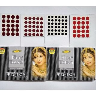 Vankab Fine Touch Sticker Kumkum Bindi - Set of 4
