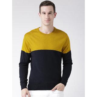 Club York Men's Long Sleeves Round Neck Colourblocked Acrylic Sweaters