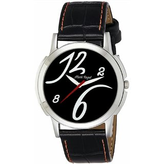 Mark Regal Round Dail Black Leather Strap Analog Watch For Mens