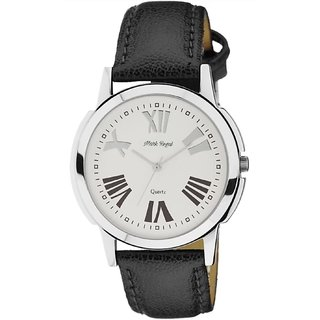 Mark Regal Round Dial Black Leather Strap Analog Watch For Men