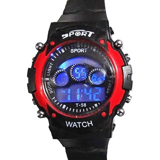 Fashion Carnival Round Black Rubber Digital Watch Ideal For Boy  Girl