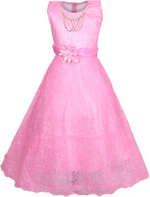 Kbkidswear Girl's Round Neck Party Wear Net Ball Gown