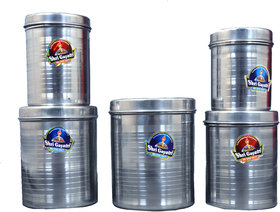 Modebell Kitchen air Tight Stainless Steel Ubha Dabba Set  Set of 5 pcs (Size 10,11,12,13,14 inch)