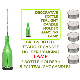DECORATIVE Green BOTTLE TEALIGHT CANDLE HOLDERS HANGING LAMP 1PC Holder + 5 Pcs Tealight Candles