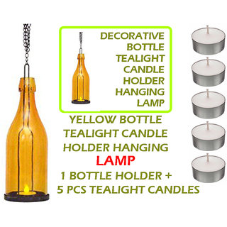 DECORATIVE Yellow BOTTLE TEALIGHT CANDLE HOLDERS HANGING LAMP 1PC Holder + 5 Pcs Tealight Candles