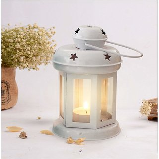 DECORATIVE IRON LANTERN WITH TEALIGHT CANDLE (WHITE)