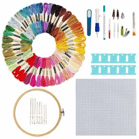 Aeoss Hand Embroidery Starter Kit, 50 Premium Rainbow Color Embroidery Floss, Craft Cross Stitch Threads Tool