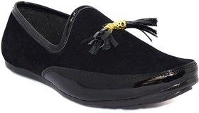 Blue Pop Men's Black Loafers
