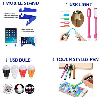 Combo of 4 in 1 Mobile Accessories Daily Use Products (1 mobile stand + 1USB Light + 1 USB Bulb + 1Touch stylus pen)
