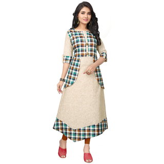 Naisargee Girl's  and Women's Multicolor Cotton Checks Full stitched Designer Cut A-Line Kurti_XL