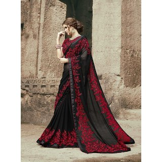 Black Georgette Embroidered Designer Saree