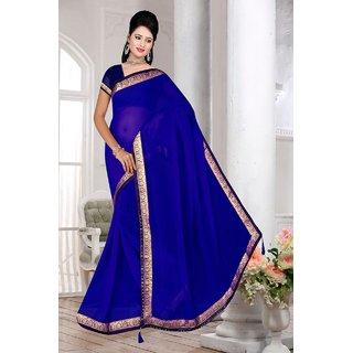 blue vari marble chiffon saree with blouse piece