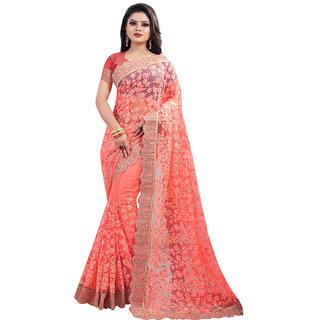 Orange Net Thread Work Embroidered Saree