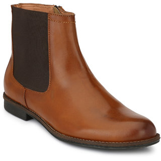 Delize Tan Leather Boots For Men