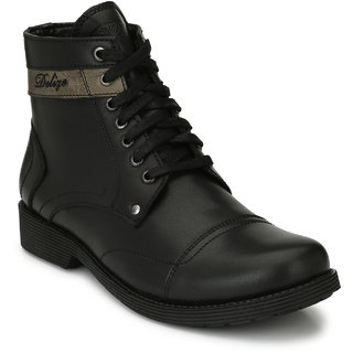 Delize Black Leather Boots For Men