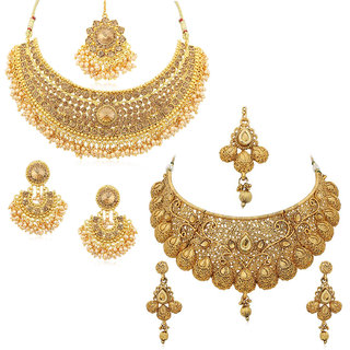 Sukkhi Alloy Gold Plated Australian Diamond Choker Necklace Combo Set For Women
