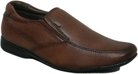 Hitz Men's Brown Genuine Leather Slip On Formal Shoes