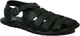 Hitz Men's Black Genuine Leather Casual Sandal - 141666465