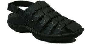 Hitz Men's Black Genuine Leather Casual Sandal
