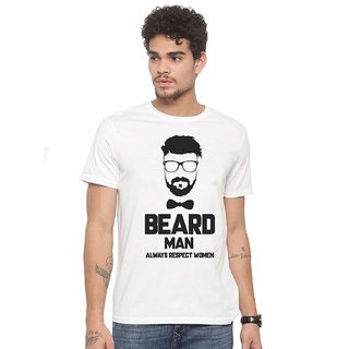 7d95bbf1 Buy DOUBLE F ROUND NECK HALF SLEEVE WHITE COLOR BEARD MEN ALWAYS RESPECT  WOMEN PRINTED T-SHIRTS Online - Get 50% Off